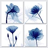 Pyradecor Blue Flickering Flower Modern Abstract Paintings Canvas Wall Art Gallery Wrapped Grace Floral Pictures on Canvas Prints 4 Panels Artwork for Living Room Bedroom Office Home Decorations