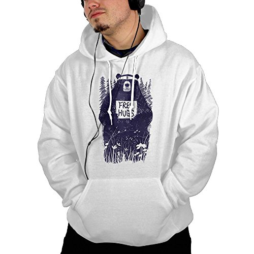 Men's Free Hugs Bear Cool Hoodie (Holder Sweater Wine Bottle)