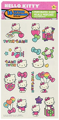 """Hello Kitty Rainbow Temporary Tattoo Birthday Party Favours (16 Pack), Multi Color, 9.2"""" x 4""""."""