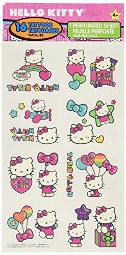 Hello Kitty Tattoos (Hello Kitty Rainbow Temporary Tattoo Birthday Party Favours (16 Pack), Multi Color, 9.2