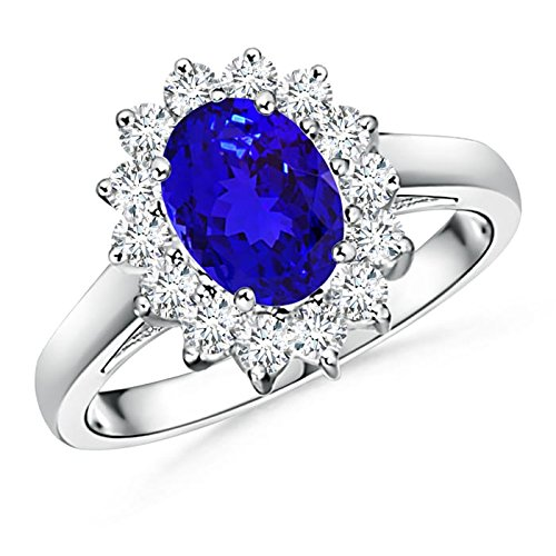 Angara Tanzanite Bypass Ring Set with Diamond Band in White Gold GqJW0o9