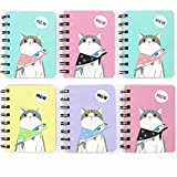 TANG SONG 6Pack 3.1''x4.1'' Cute Cat Cover Wirebound Memo Book, Top Bound Memo Books, Mini Notebooks, Spiral Notebooks, Mini Pocket Memo Pads, For School Supplies, Office Desk, 80 Pages Each