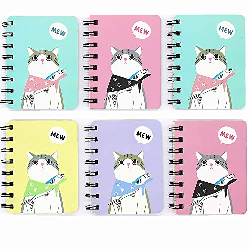 TANG SONG 6Pack 3.1''x4.1'' Cute Cat Cover Wirebound Memo Book, Top Bound Memo Books, Mini Notebooks, Spiral Notebooks, Mini Pocket Memo Pads, For School Supplies, Office Desk, 80 Pages Each by TANG SONG