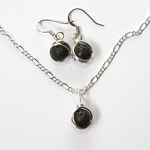 Aromatherapy Earring and Necklace Set - Black Lava Rock Handmade Jewelry 16