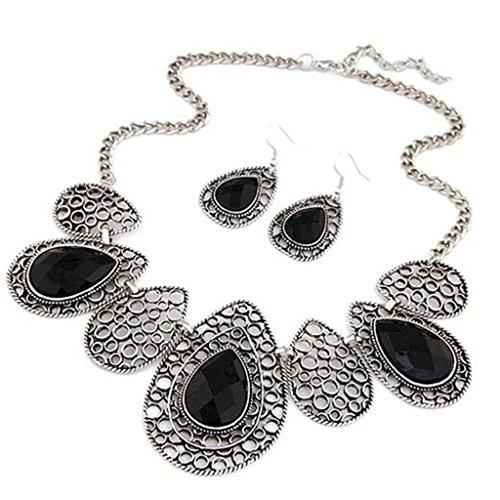 "JSDY Womens Drop Totem Chain Bib Necklaces Hook Earring Fashion Jewelry Set 16"" Black"