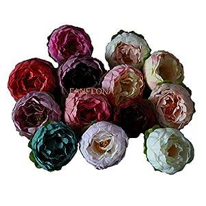 FANFLONA Silk Peony Flowers Artificial Peonies Head 5-6cm DIY Crafts 100 PCS for Wedding Home Decor Clothes Hats Handband 78