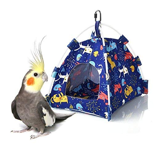 Bird Tent - Keersi Bird Nest House Bed Hanging Tent for Budgie Parakeet Cockatiel Conure Dove Canary Lovebird Finch Small Medium Parrots Gerbil Chinchilla Guinea Pig Cage Habitat Perch Toy
