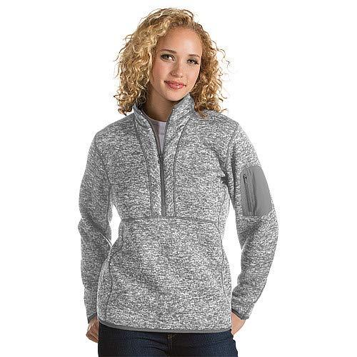 Antigua Women's Fortune 1/4 Zip Sweater Knit Pullover L Light Grey -