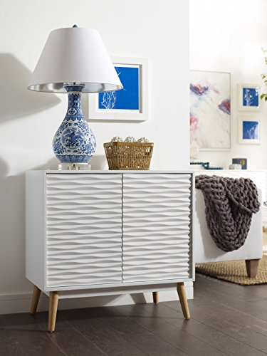 Elle Decor FSDAURWHTS02 Aurie Sideboard, Small - The aurie small sideboard by Elle Decor is the best Way to add Sophistication to your small space White, geometric textured front makes an effortlessly chic Impression Retro-inspired white and natural pine mixed materials give a Mid Century modern vibe - sideboards-buffets, kitchen-dining-room-furniture, kitchen-dining-room - 51xwA42xlDL -