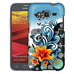 Samsung Galaxy Core Prime Case, Slim Fit Snap On Cover by Trek Yellow Lily with Butterflies on Blue and Black Case