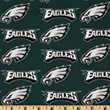 NFL Cotton Broadcloth Philadelphia Eagles Green/Silver/White Fabric By The Yard