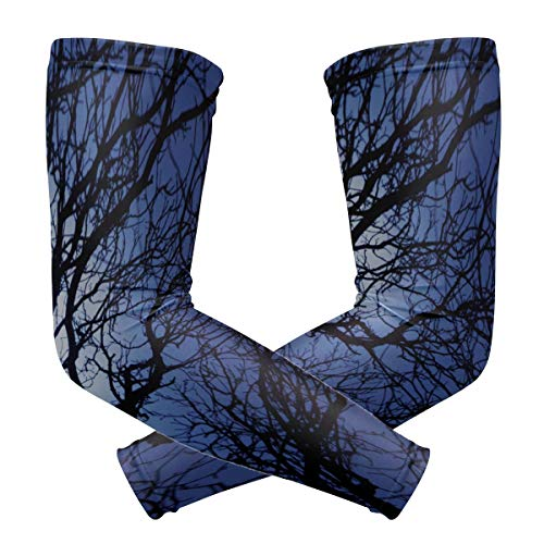 Sports Athletic Arm Sleeve Sly Dark Forest Spooky Branch Nature Halloween Gray Black Horror Atmosphere Print Compression Sleeves Arm Warmer Moisture Wicking Uv Protection for Youth Adult