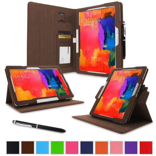 """rooCASE Samsung Galaxy Tab 4 10.1 Case - Dual View Multi-Angle Stand 10.1-Inch 10.1"""" Tablet Cover (Compatible with Galaxy Tab 3) - BROWN (With Auto Wake / Sleep Cover)"""