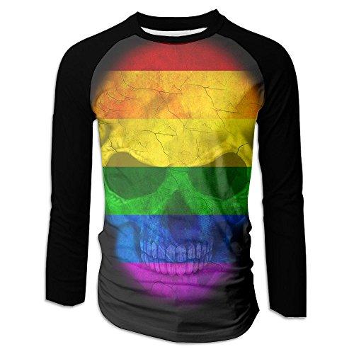 Raglan Gay Rainbow Flag - Menâ€s Gay Pride Rainbow Flag Skull Raglan Baseball T-Shirts 3/4 Sleeve Baseball Tees S