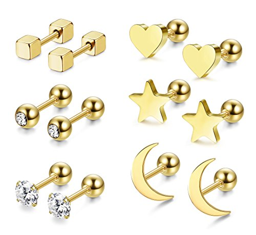 LOYALLOOK 3 Pairs Stainless Steel Moon Star and heart Plain Stud Earrings for Women and Girls (Style D:6 Pairs Golden Tone)