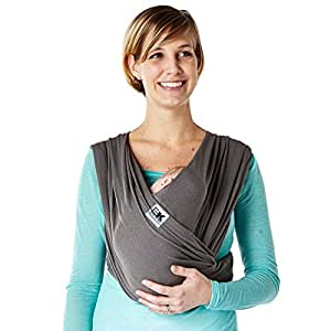 Baby K'tan Breeze Baby Wrap Carrier, Infant and Child Sling - Simple Wrap Holder for Babywearing - No Rings or Buckles - Carry Newborn up to 35 lbs, Charcoal, Medium (W Dress 10-14 / M Jacket 39-42)