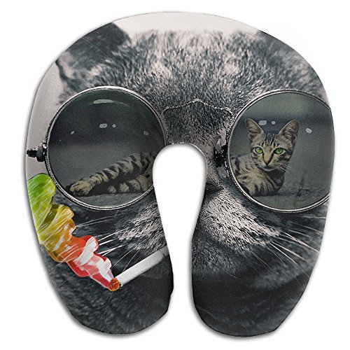 Funny Cool Smoking Sunglasses Cat Super U Type Pillow Neck Pillow Outdoor Travel Pillow Relief Neck - Buy To Cheap Where Sunglasses