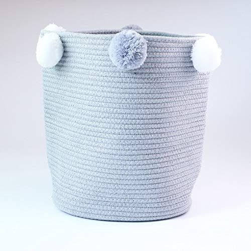 Cestas de almacenamiento tejidas de cuerda de algodón nórdico con pompones Ropa sucia grande Cesta de lavandería Niños Almacenamiento de juguetes Bin Organizador de artículos diversos (Color : Grey) : Amazon.es: Hogar