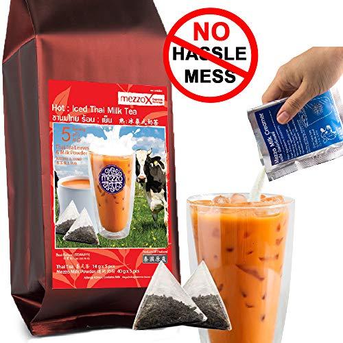 MezzoX Thai Tea Leaves + Milk Powder, NO Hassle NO Mess Super Easy DIY Set 9.5oz (5 Servings): Authentic Taste, Premium Quality, No Strainer Or Condensed Milk Required! Product of Thailand