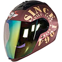 Steelbird SBA-2 TANK with Night Vision visor in Matt Finish (Large 600MM, Maroon/Gold)