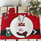 Christmas Tableware Bags,ZYooh Santa Claus, Elk, Snowman Style Silverware Holder Pockets (B)