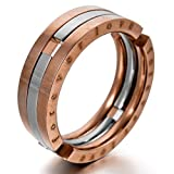 """Men's """"Forever Love"""" Stainless Steel Ring Band Silver Rose Gold Transformable Unique Wedding"""