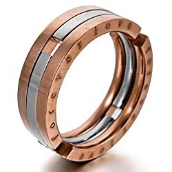"Men's ""Forever Love"" Stainless Steel Ring Band Silver Rose Gold Transformable Unique Wedding"