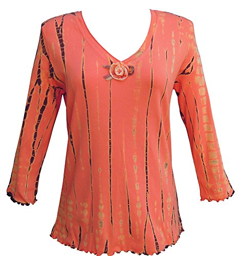 Nature Art Womens Striped Tie Dye Top V Neck 3/4 Sleeve Floral Shirt Tangerine L