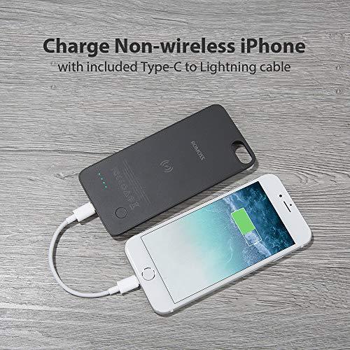 [3 in 1] Caricatore per induzione Qi Compatibile con iPhone 8 Samsung + Cover Batteria Compatibile con iPhone 8P Magnetica Rimovibile + Batteria Esterna 4800mah Digita C su Compatibile con iPhone
