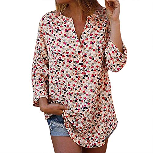 POQOQ Summer Tunic Top Women V-Neck Plus Size Printed Long Sleeves Blouse Shirt(Orange,XL) -