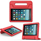 2017 Fire 7 inch case- Kids Shock Proof Convertible Handle Light Weight Super Protective Stand Cover for Amazon Fire Tablet (7' Display -Universal 2015 Fire 7 inch )(2017 2015 Fire 7', Red)