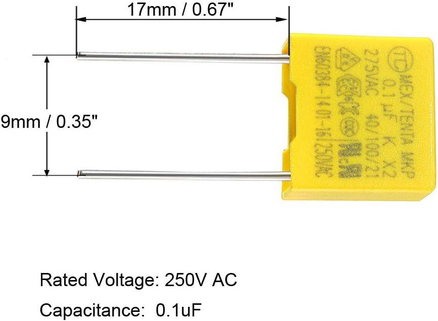 sourcing map Polypropylene Film Safety Capacitors 0.1uF 275VAC X2 MKP 20 Pcs