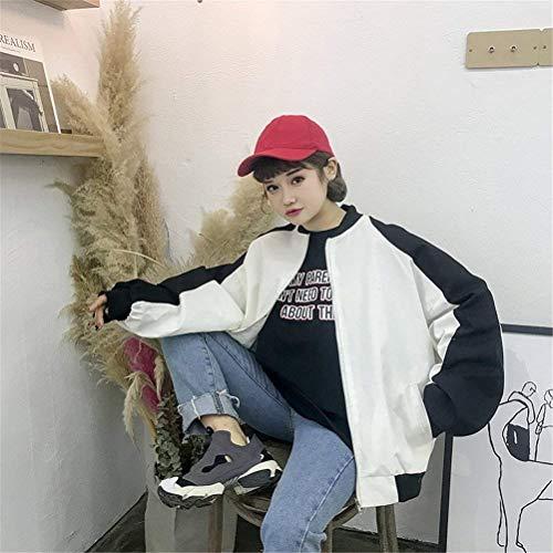 Cappotto Misti Colori Casual Giacche Manica Relaxed Autunno Chic College Zip Fashion Lunga Bianca Donna Cute Bomber Ragazze Giacca Pilot qdTtIt