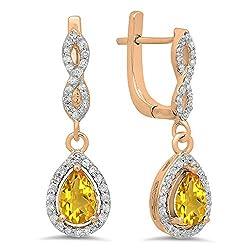 Citrine Pear Gemstone & Round White Diamond Teardrop Earrings