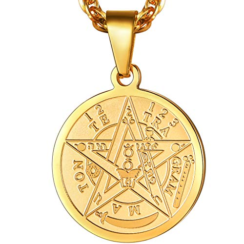 PROSTEEL Tetragrammaton Pentacle Necklace Eliphas Levi's Pentagram Protection Charm Amulet Wiccan Magical,Gold Star Pendant Hiphop Chain,The Ancient Power Name of God (Gold Necklace Amulet)