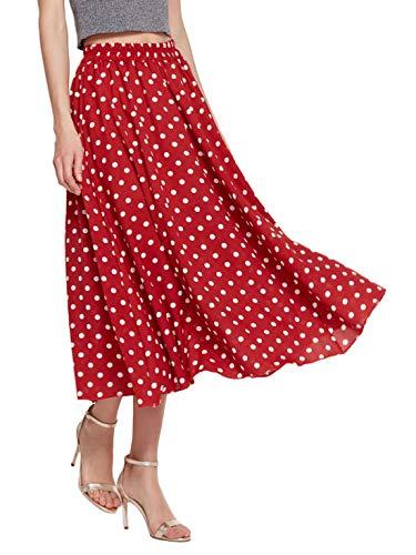 Amormio Women's Cute Polka Dot Printed Chiffon A-Line Swing Boho Long Maxi Pleated Skirts (Charming Red, Medium)