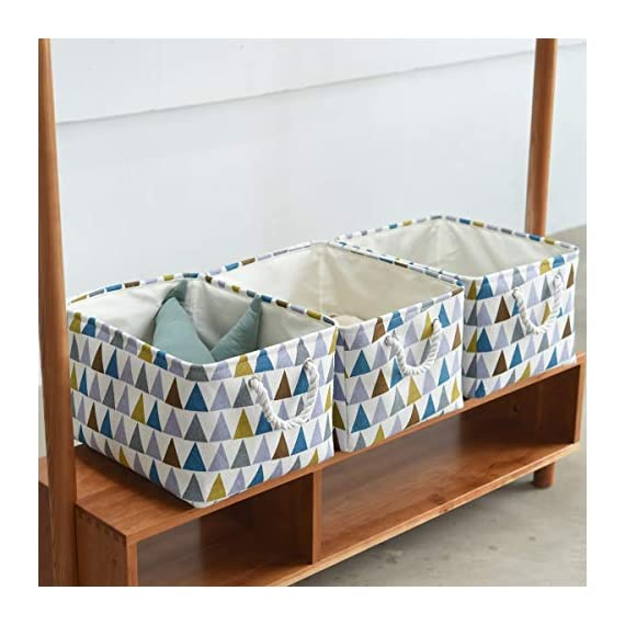 """Fabric Storage Baskets 3-Pack Rectangle Storage Basket Collapsible Baskets for Organizing with Handles for Shelves… - 3 Pack Storage Baskets-15.5"""" L x 11.8"""" W x 8.3"""" H,Functional storage baskets use in the playroom, family room, laundry area, bedroom, closet, storage room, car, etc - Ideal toy baskets or shelf baskets for storage organizer shelves, Home Closet, bookcase , desk, or floor Premium Quality Fabric-This fabric basket is made of durable canvas and thicken environmental EVA,sturdy metal rod frame around the top for stability to keeps its shape even when empty. Durable and high quality material make this storage basket last a good long time.Reinforced cotton rope handles make for easy and comfortable transporting Multi Purpose-Perfect storage basket for toys, books, magazines,dog toys basket,shoe basket,clothes basket,shelf,baby bin,pet toy storage,towel basket,blankets,decorations. Collapsible basket set provides attractive, lightweight solutions to many storage needs while keeping household items tidy and organized - living-room-decor, living-room, baskets-storage - 51xwD82WVtL. SS570  -"""