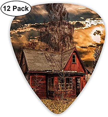 Guitar Picks 12-Pack,Scary Horror Movie Themed Abandoned House In Pale Grass Garden Sunset Photo: Amazon.es: Instrumentos musicales