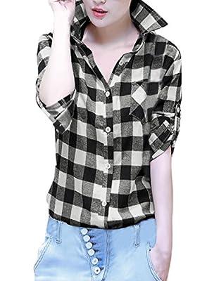 Allegra K Women's Roll Up Sleeves Buttoned Boyfriend Plaids Shirt