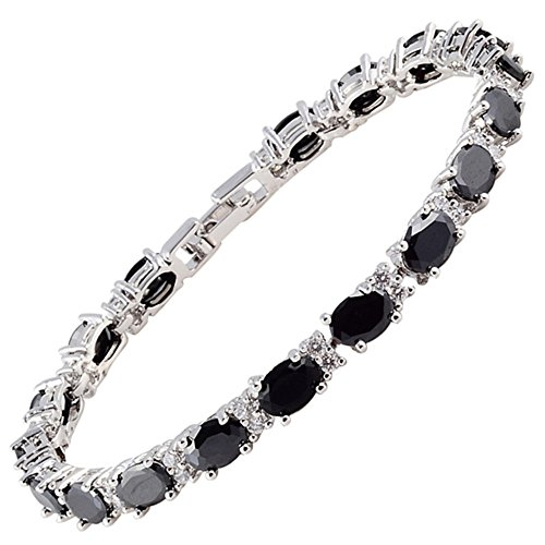 (RIZILIA Oval Cut Simulated Black Onyx and White Cubic Zirconia 18K White gold Plated Tennis Bracelet, 7