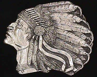 Pewter Belt Buckle - Pontiac Indian Chief (Diamond Cut) (Pewter Buckle Mens Belt)
