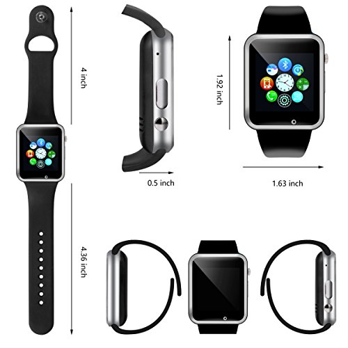 Smart Watch - 321OU Touch Screen Bluetooth Smart Wrist Watch Smartwatch Phone Fitness Tracker with SIM SD Card Slot Camera Pedometer for iPhone iOS Samsung LG Android for Women Men Kids (Black) by 321OU (Image #3)
