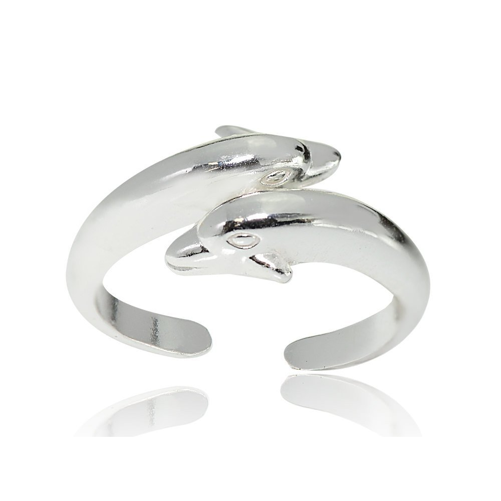 Sterling Silver Polished Twin Dolphins Toe Ring