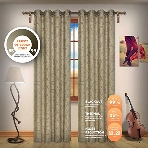 Blackout Weave Embossed Curtain Panels | Block Light And Noise | Best Sleep Of Your Life| Thermal Weaved Room Darkening Fabric Durable Grommets Premium Curtains And Draperies(2 panels 38x96, Taupe) (Lisette Sheer Panels)
