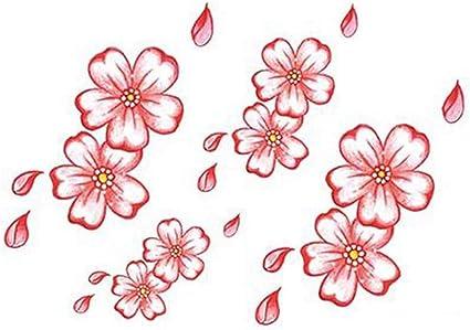 3 Hojas Coloridas Flores de Cerezo Tatuajes Temporales Maquillaje ...