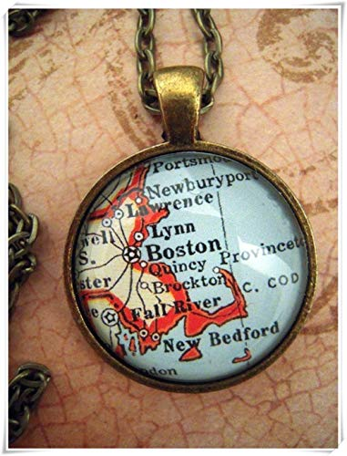 A little little love Custom Map Jewelry, Boston Massachusetts Map Pendant,Vintage Map Pendant Necklace, Personalize Map ()