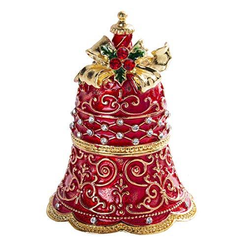YU FENG Red Xmas Jingle Bell Jewelry Trinket Storage Box Rhinestones Bejewelled Collectible Jewelry Holder