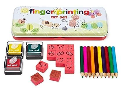 3 ink pads//12 rubber stamps//10 pencils W5400 NPW FINGER PRINTING COLOR ART SET