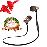 Wireless Earbuds, Christmas Gifts, Olatec 4.1 Bluetooth Sport in Ear Earphones with Microphones, on Sales, Mini Bluetooth Earbuds is Secure and Fit for Running(Black+Gold)