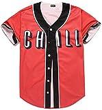 Pizoff Short Sleeve Arc Bottom Baseball Team Jersey 3D All Over Red Contrast Print Basketball Shirt Y1724-50-M